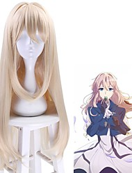 cheap -Violet Evergarden Cosplay Wigs Women's Asymmetrical 32 inch Heat Resistant Fiber kinky Straight Blonde Blonde Anime