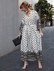 cheap -Women's Maxi Wine Black Dress A Line Print V Neck S M