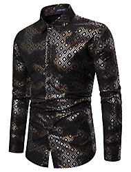 cheap -Men's Party Going out Tropical Shirt - Plaid Black