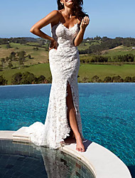 cheap -Sheath / Column Wedding Dresses V Neck Floor Length Lace Polyester Sleeveless Casual Beach Plus Size with Appliques Split Front 2020