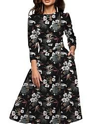 cheap -Women's A Line Swing Dress - Floral Pocket Black S M L XL