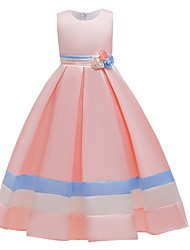 cheap -A-Line Floor Length Junior Bridesmaid Dress Cotton Round with Bow(s)