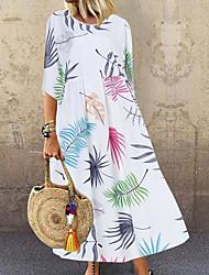 cheap -Women's Maxi Shift Dress - 3/4 Length Sleeve Color Block Loose White Blue Blushing Pink Green Navy Blue M L XL XXL XXXL XXXXL XXXXXL