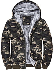 cheap -Men's Daily Fall & Winter Regular Jacket, Camo / Camouflage Hooded Long Sleeve Polyester Army Green / Blue
