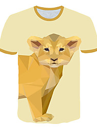 cheap -Men's Daily Sports Street chic / Exaggerated T-shirt - Geometric / 3D / Animal Dog, Print Yellow