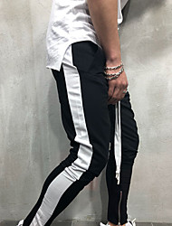 cheap -Men's High Waist Jogger Pants Harem Pants / Trousers Breathable Blue and White Red and White Black / White Gym Workout Running Fitness Sports Activewear Stretchy