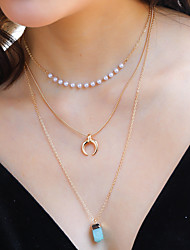 cheap -Women's Pendant Necklace Necklace Stacking Stackable Moon Simple Classic Korean Fashion Imitation Pearl Chrome Stone Gold 60 cm Necklace Jewelry 1pc For Anniversary Street Birthday Party Beach