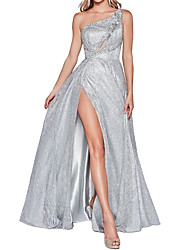 cheap -A-Line Sparkle Engagement Prom Dress One Shoulder Sleeveless Floor Length Polyester with Crystals Split 2020