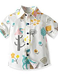 Недорогие -Дети (1-4 лет) Мальчики Классический Тропический лист Цветочный принт С короткими рукавами Рубашка Белый