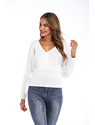 cheap -Women's Solid Colored Long Sleeve Cardigan Sweater Jumper, V Neck Spring / Fall White S / M / L