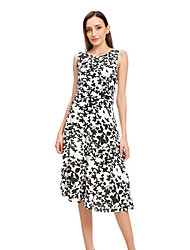 cheap -Women's Black Dress Sheath Print S M