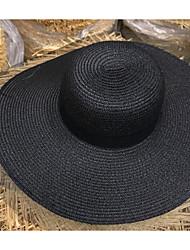 Недорогие -Жен. Классический Соломенная шляпа Солома,Однотонный Хаки Белый Черный