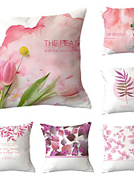 cheap -Set of 6 Polyester Pillow Cover, Flower / Floral Leaf Vintage Pastoral Square Traditional Classic Throw Pillow