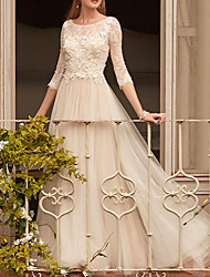 cheap -A-Line Empire White Engagement Prom Dress Jewel Neck Half Sleeve Floor Length Polyester with Appliques 2020