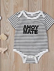 cheap -Baby Girls' Basic Striped Short Sleeves Overall & Jumpsuit Black