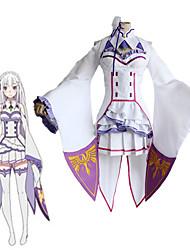cheap -Inspired by Re:Zero Starting Life in Another World kara hajimeru isekai seikatsu Emilia Anime Cosplay Costumes Japanese Cosplay Suits Top Dress Socks For Women's / Headwear
