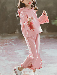 cheap -Kids Girls' Street chic Daily Wear Solid Colored Ruffle Long Sleeve Regular Regular Clothing Set Blushing Pink