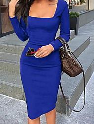 cheap -Women's Wine Blue Dress Sheath Solid Color U Neck S M Slim