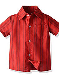 cheap -Kids Boys' Basic Striped Short Sleeve Shirt Red