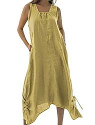 Недорогие -Жен. С летящей юбкой Платье - Без рукавов Сплошной цвет Квадратный вырез Синий Красный Желтый Зеленый S M L XL XXL XXXL