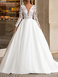 cheap -A-Line V Neck Floor Length Polyester Long Sleeve Formal Plus Size / Illusion Sleeve Wedding Dresses with Draping / Appliques 2020