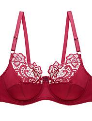 cheap -Women's Underwire Bra Padless 3/4 Cup Bra Lace Printing Fashion Black White Blushing Pink