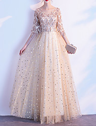 cheap -A-Line Hot Glittering Prom Formal Evening Dress V Neck Half Sleeve Floor Length Tulle Sequined with Sequin Tassel 2020