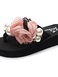 cheap -Women's Slippers & Flip-Flops Flat Heel Open Toe Imitation Pearl / Satin Flower / Ribbon Tie Polyester Sweet / Chinoiserie Walking Shoes Summer Light Green / Pink / Light Pink