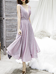 cheap -A-Line Glittering Pink Graduation Cocktail Party Dress V Neck Sleeveless Tea Length Polyester with Sequin 2020