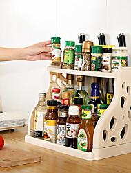 Недорогие -Высокое качество с пластиковой стойкой держатель для кухонных принадлежностей многофункциональный двойной слой для хранения кухни 1 шт.