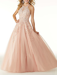 cheap -Ball Gown Halter Neck Floor Length Tulle Elegant / Sexy Engagement / Prom Dress with Pleats / Beading / Appliques 2020