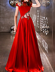 cheap -A-Line Chinese Style Red Engagement Prom Dress High Neck Short Sleeve Floor Length Polyester with Embroidery Appliques 2020