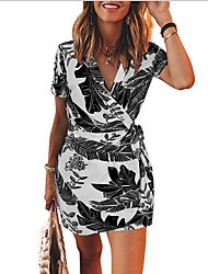 cheap -Women's Sheath Dress - Print Black Blue S M L XL