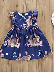 cheap -Baby Girls' Active Boho Easter Rabbit Rose Floral Ruffle Sleeveless Knee-length Dress Navy Blue / Toddler