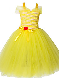 cheap -Yellow Belle Princess Tutu Dress Tulle Fancy Kids Beauty and The Beast Belle Party Cosplay Costume