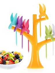 cheap -1 Set Fruit Forks Tree Shaped Toothpick Holder Party Home Decor Accessories with 6pcs Forks