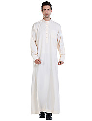 cheap -Men's Daily Basic Spring &  Fall Long Abaya, Solid Colored Stand Long Sleeve Polyester Wine / White / Beige