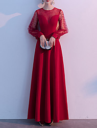 cheap -A-Line Elegant Red Wedding Guest Prom Dress Illusion Neck Jewel Neck Long Sleeve Floor Length Spandex Tulle with Beading 2020