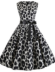 cheap -Women's Party Daily Vintage Style Street chic Swing Dress - Leopard Patchwork Print Black S M L XL