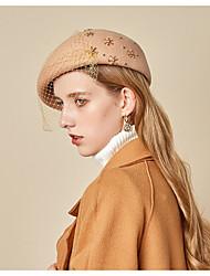Недорогие -Жен. Классический Шляпа от солнца Хлопок Кружева,Однотонный Винный Красный Хаки
