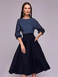 cheap -Women's Vintage A Line Dress - Polka Dot Polka Dots Purple Blue S M L XL