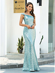 cheap -Mermaid / Trumpet Elegant Sparkle Party Wear Formal Evening Dress One Shoulder Sleeveless Floor Length Sequined with Sequin 2020