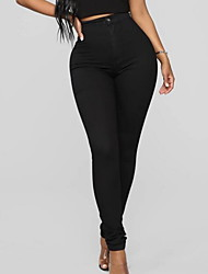 cheap -Women's Basic Chinos Pants - Solid Colored Black S M L