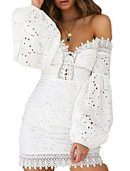 cheap -Women's White Dress Bodycon Solid Color Off Shoulder S M