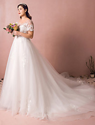 cheap -A-Line Wedding Dresses Jewel Neck Watteau Train Satin Tulle Sequined Short Sleeve Formal Plus Size with Appliques 2020