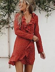 cheap -Women's Red Blue Dress Sheath Polka Dot V Neck S M Slim