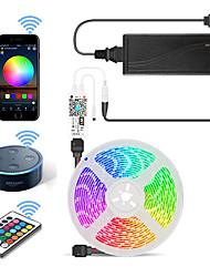 Недорогие -5м Wi-Fi набор световых полос гибкие светодиодные полосы света RGB полосы света 300 светодиодов smd5050 10 мм 1 24 ключа пульт дистанционного управления / 1 х 12 В 5a блок питания 1 комплект с