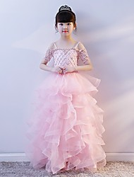 cheap -Princess Sweep / Brush Train Wedding / Party Pageant Dresses - Tulle / Spun Rayon Short Sleeve Spaghetti Strap with Crystals / Rhinestones