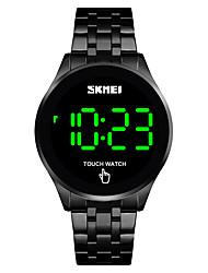 Недорогие -SKMEI Муж. электронные часы Кварцевый Современный Стильные Нержавеющая сталь Черный / Серебристый металл / Золотистый 30 m Защита от влаги Календарь Светодиодная лампа Цифровой минималист Мода -