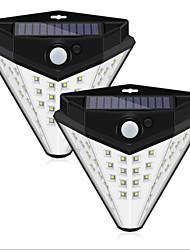 cheap -ZDM 2PCS 5W 38 LED Solar Powered 850lm PIR Motion Sensor Waterproof Wall Light Outdoor Garden Lamp 3 Modes Multilateral Lighting Wall Lamp Garden